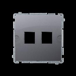 Pokrywa gniazd teleinformatycznych na Keystone płaska podwójna srebrny mat, metalizowany-254174