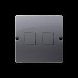 Pokrywa gniazd teleinformatycznych na Keystone płaska podwójna srebrny mat, metalizowany-254181