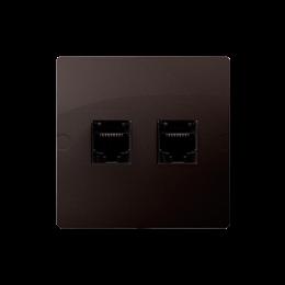 Gniazdo komputerowe RJ45 kategoria 5e + telefoniczne RJ11 (moduł) czekoladowy mat, metalizowany-254161