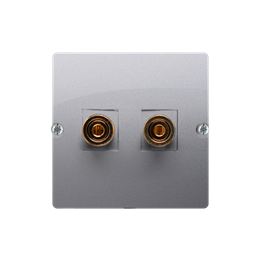 Gniazdo głośnikowe pojedyncze srebrny mat, metalizowany-254036