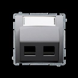 Pokrywa gniazd teleinformatycznych na PANDUIT, skośna podwójna z polem opisowym inox, metalizowany-254201