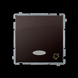 """Przycisk """"dzwonek"""" z podświetleniem LED nie wymienialny kolor: niebieski (moduł) 10AX 250V, szybkozłącza, czekoladowy mat, metal"""