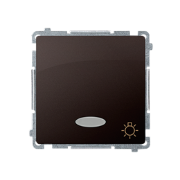 """Przycisk """"światło"""" z podświetleniem LED nie wymienialny kolor: niebieski (moduł) 10AX 250V, szybkozłącza, czekoladowy mat, metal"""