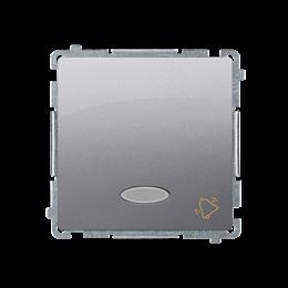"""Przycisk """"dzwonek"""" z podświetleniem LED nie wymienialny kolor: niebieski (moduł) 10AX 250V, szybkozłącza, srebrny mat, metalizow"""