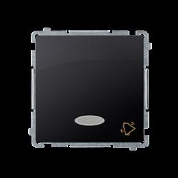 """Przycisk """"dzwonek"""" z podświetleniem LED nie wymienialny kolor: niebieski (moduł) 10AX 250V, szybkozłącza, grafit mat, metalizowa"""