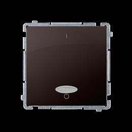 Łącznik dwubiegunowy z podświetleniem LED nie wymienialny kolor: niebieski (moduł) 10AX 250V, szybkozłącza, czekoladowy mat, met