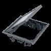 Puszka podłogowa FB kwadratowa 12×K45 5mm z zamkiem szary 85mm÷116mm IK:IK08-255913