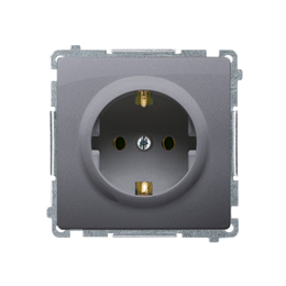 Gniazdo wtyczkowe pojedyncze z uziemieniem typu Schuko z przesłonami torów prądowych srebrny mat, metalizowany 16A-253897