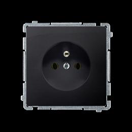 Gniazdo wtyczkowe pojedyncze z uziemieniem z przesłonami torów prądowych grafit mat, metalizowany 16A-253801