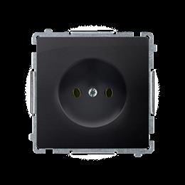 Gniazdo wtyczkowe pojedyncze bez uziemienia grafit mat, metalizowany 16A-253816