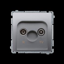 Gniazdo antenowe R-TV przelotowe tłum.:10dB srebrny mat, metalizowany-253916