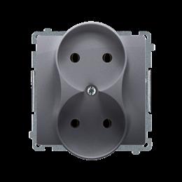Gniazdo wtyczkowe podwójne bez uziemienia z przesłonami torów prądowych srebrny mat, metalizowany 16A-253758