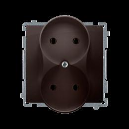 Gniazdo wtyczkowe podwójne bez uziemienia z przesłonami torów prądowych czekoladowy mat, metalizowany 16A-253760