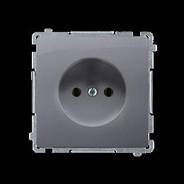Gniazdo wtyczkowe podjedyncze bez uziemienia z przesłonami torów prądowych srebrny mat, metalizowany 16A-253832