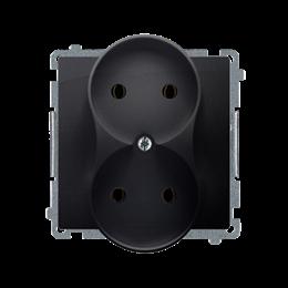 Gniazdo wtyczkowe podwójne bez uziemienia grafit mat, metalizowany 16A-253744