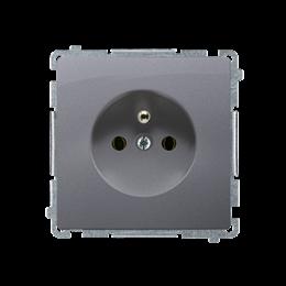 Gniazdo wtyczkowe pojedyncze z uziemieniem z przesłonami torów prądowych srebrny mat, metalizowany 16A-253802