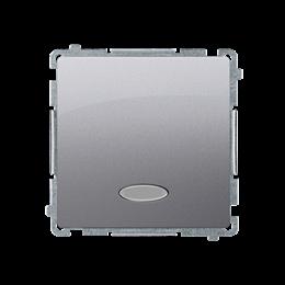 Łącznik jednobiegunowy z podświetleniem LED nie wymienialny kolor: niebieski (moduł) 10AX 250V, szybkozłącza, srebrny mat, metal