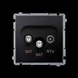 Gniazdo antenowe SAT-SAT-RTV satelitarne podwójne tłum.:1dB grafit mat, metalizowany-253965