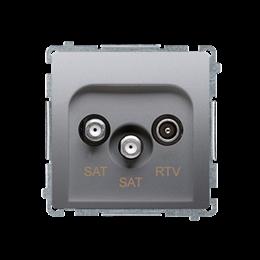 Gniazdo antenowe SAT-SAT-RTV satelitarne podwójne tłum.:1dB srebrny mat, metalizowany-253967