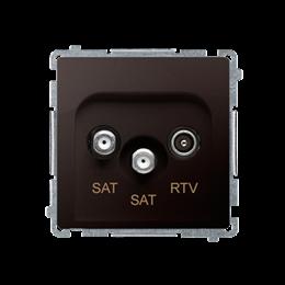 Gniazdo antenowe SAT-SAT-RTV satelitarne podwójne tłum.:1dB czekoladowy mat, metalizowany-253968