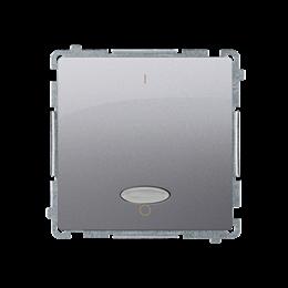 Łącznik dwubiegunowy z podświetleniem LED nie wymienialny kolor: niebieski (moduł) 10AX 250V, szybkozłącza, srebrny mat, metaliz