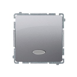 Przycisk pojedynczy zwierny z podświetleniem LED nie wymienialny kolor: niebieski (moduł) 10AX 250V, szybkozłącza, srebrny mat,
