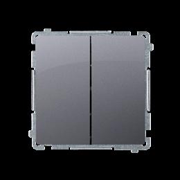 Przycisk podwójny zwierny. Dwuobwodowy: 2 wejścia, 2 wyjścia. (moduł) 10AX 250V, szybkozłącza, srebrny mat, metalizowany-253643
