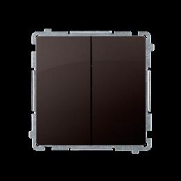 Przycisk podwójny zwierny. Dwuobwodowy: 2 wejścia, 2 wyjścia. (moduł) 10AX 250V, szybkozłącza, czekoladowy mat, metalizowany-253