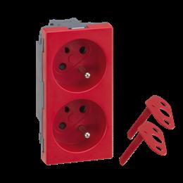 Gniazdo podwójne SIMON 500 DATA z bolcem uziemiającym 16A 250V szybkozłącza/nożowe 100×50mm czerwony-256294