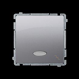 Łącznik schodowy z podświetleniem LED nie wymienialny kolor: niebieski (moduł) 10AX 250V, szybkozłącza, srebrny mat, metalizowan