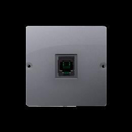 Gniazdo telefoniczne pojedyncze RJ11 (moduł) srebrny mat, metalizowany-254076