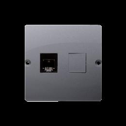 Gniazdo telefoniczne pojedyncze RJ11 (moduł) srebrny mat, metalizowany-254090