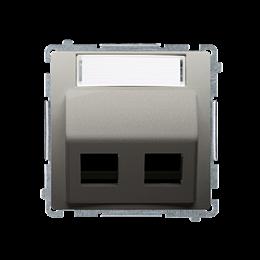 Pokrywa gniazd teleinformatycznych na PANDUIT, skośna podwójna z polem opisowym satynowy, metalizowany-254203