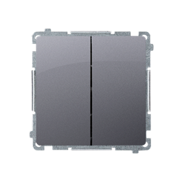 Łącznik schodowy podwójny (moduł) 10AX 230V, zaciski śrubowe, srebrny mat, metalizowany-253518