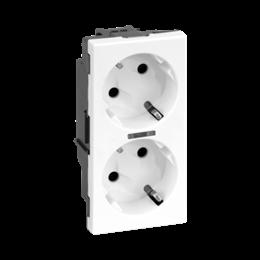 Gniazdo podwójne SIMON 500 SCHUKO z sygnalizacją napięcia 16A 250V szybkozłącza/zaciski śrubowe 100×50mm czysta biel-256301