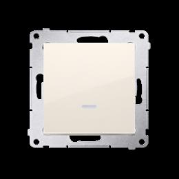 Łącznik jednobiegunowy z podświetleniem LED (moduł) 10AX 250V, szybkozłącza, kremowy-252032