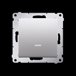 Łącznik jednobiegunowy z podświetleniem LED (moduł) 10AX 250V, szybkozłącza, srebrny mat, metalizowany-252033