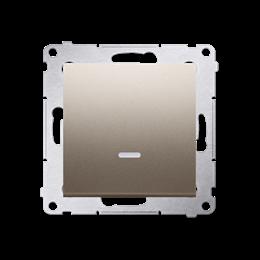 Łącznik jednobiegunowy z podświetleniem LED (moduł) 10AX 250V, szybkozłącza, złoty mat, metalizowany-252034