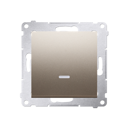 Łącznik jednobiegunowy z podświetleniem LED (moduł) 16AX 250V, zaciski śrubowe, złoty mat, metalizowany-252040