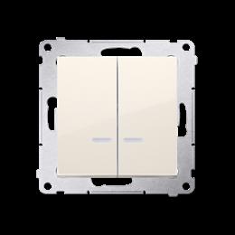 Łącznik świecznikowy z podświetleniem LED do wersji IP44 (moduł) 10AX 250V, szybkozłącza, kremowy-252254