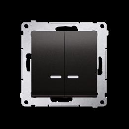 Łącznik świecznikowy z podświetleniem LED do wersji IP44 (moduł) 10AX 250V, szybkozłącza, antracyt, metalizowany-252266