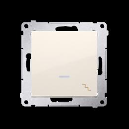 Łącznik schodowy z podświetleniem LED (moduł) 10AX 250V, szybkozłącza, kremowy-252073