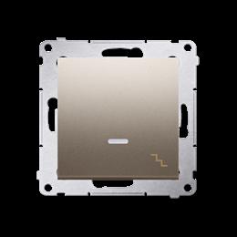 Łącznik schodowy z podświetleniem LED (moduł) 10AX 250V, szybkozłącza, złoty mat, metalizowany-252075