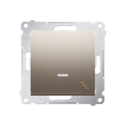 Łącznik schodowy z podświetleniem LED (moduł) 16AX 250V, zaciski śrubowe, złoty mat, metalizowany-252102