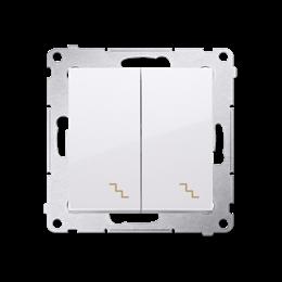 Łącznik schodowy podwójny z podświetleniem LED (moduł) 10AX 250V, zaciski śrubowe, biały-252291