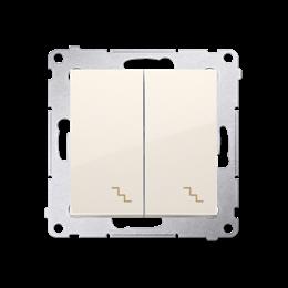 Łącznik schodowy podwójny z podświetleniem LED (moduł) 10AX 250V, zaciski śrubowe, kremowy-252292