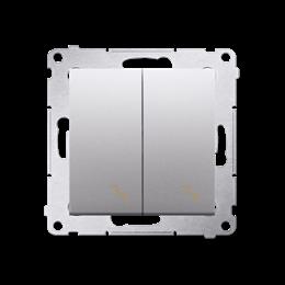 Łącznik schodowy podwójny z podświetleniem LED (moduł) 10AX 250V, zaciski śrubowe, srebrny mat, metalizowany-252293