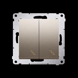 Łącznik schodowy podwójny z podświetleniem LED (moduł) 10AX 250V, zaciski śrubowe, złoty mat, metalizowany-252294