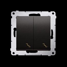 Łącznik schodowy podwójny z podświetleniem LED (moduł) 10AX 250V, zaciski śrubowe, antracyt, metalizowany-252295
