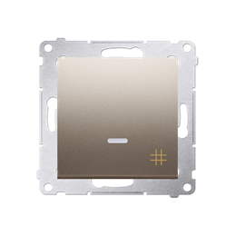 Łącznik krzyżowy z podświetleniem LED (moduł) 10AX 250V, szybkozłącza, złoty mat, metalizowany-252122